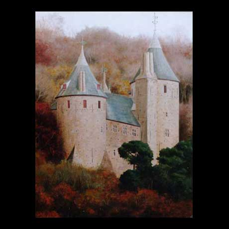 Cardiff, Castle Coch, oil painting on canvas