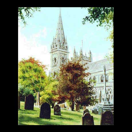 llandaff Cathedral, oil painting on canvas