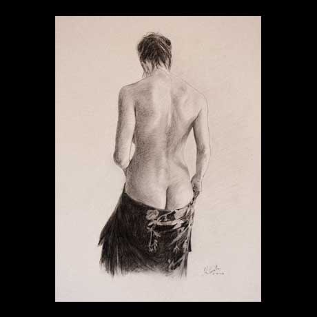 Female classic nude drawing on paper